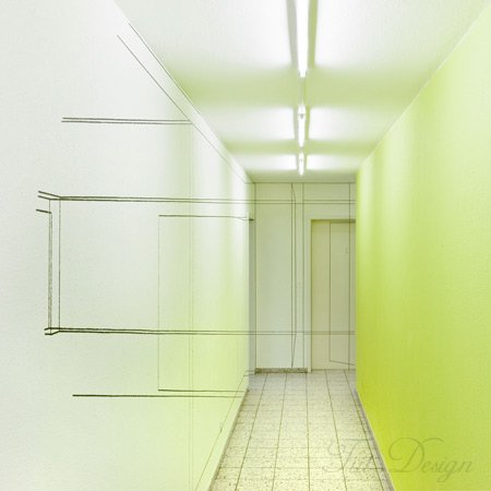 щведский дизайн, интерьерные решения, абстрактные линейные рисунки, современный дизайн в интерьере, интерьер офисного центра, графика на стенах