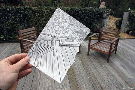 Наброски, фотография и наброски, бельгийский художник, Ben Heine, наброски карандашом, современная иллюстрация, наброски в рекламе
