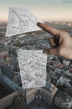 Фотографии с карандашными набросками