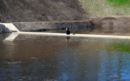 На мосту по шею в воде